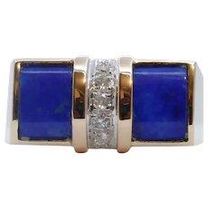 Cool Unisex Geometric Lapis Lazuli Diamonds 14K Yellow Gold Ring