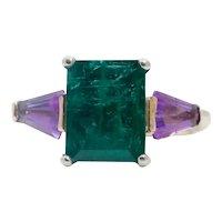 Vintage Emerald Amethyst 18K Yellow Gold Ring