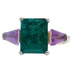 Vintage Emerald Amethyst 18K Yellow Gold Ring