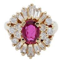 Elegant Ruby Diamonds 18K Yellow Gold Vintage Cluster Ring