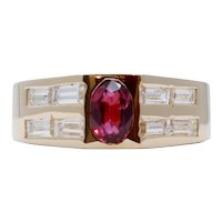 Geometric Vintage Ruby Diamonds 14K Yellow Gold Ring