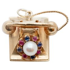 Vintage Movable Telephone 14K Yellow Gold Pearl Sapphires Rubies Pendant Charm