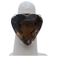 Vintage Heart Cut Smoky Topaz 14K Yellow Gold Ring