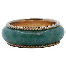 Vintage Jade 14K Yellow Gold Wedding Band Ring