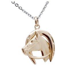Vintage Horse and Horseshoe Pendant Charm