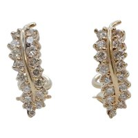 Vintage Leaf Diamonds 14K Yellow Gold Earrings