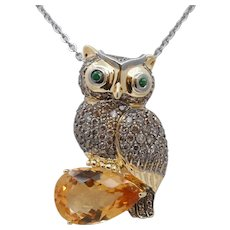 Vintage Owl Pendant 18K Yellow White Gold Citrine Diamonds Emeralds