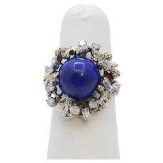 Vintage Tree Vine Cabochon Lapis Lazuli Diamonds 14K Yellow Gold Ring