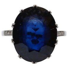 Art Deco Large Synthetic Sapphire Diamonds Platinum Cocktail Ring