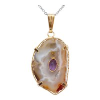 Agate and Amethyst 10K Yellow Gold Vintage Pendant