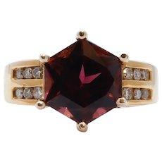 Large Pinkish Purple Hexagonal Cut Tourmaline Diamonds 14K YG Ring