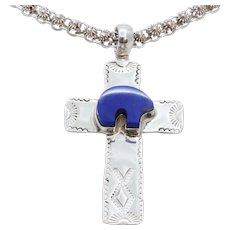 Navajo Lapis Lazuli Bear Sterling Silver Cross Pendant