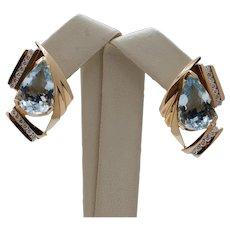 Luxury Earrings!!!! Large Pear Aquamarines Diamonds 14K Yellow Gold Earrings