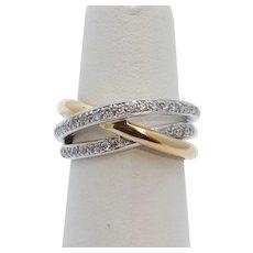 Vintage Diamonds 14K White Yellow Gold Trinity Ring