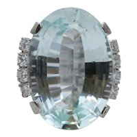 Vintage Aquamarine Diamonds 14K White Gold Ring