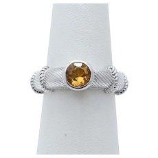 Vintage Judith Ripka Citrine 925 Sterling Silver Ring