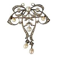 Victorian Gold Over Silver Diamonds Pearls Brooch Pendant