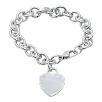 Tiffany and Co.  Heart Tag Charm Bracelet 925 Sterling Silver