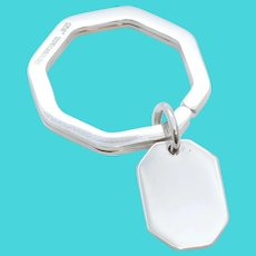 Tiffany and Co. Octagonal Keychain 925 Sterling Silver