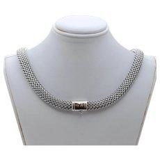 Vintage Flli Menegatti 18K 925 Sterling Silver Woven Choker Necklace
