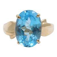 Vintage Oval London Blue Topaz 10K Yellow Gold Ring