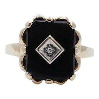 Vintage Black Onyx Diamond 10K Yellow White Gold Ring
