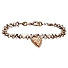 Victorian Rare Heart Charm Bracelet 10K/12KGF Rose Gold