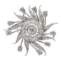 Ladies Vintage Flower Pinwheel 14K White Gold Diamonds Brooch Pin Pendant