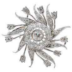 Ladies Vintage Flower Pinwheel !4K White Gold Diamonds Brooch Pin Pendant