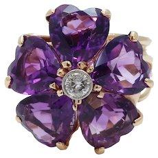 Vintage Siberian Amethyst Hearts Diamond 14K Yellow Gold Ring