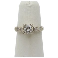 Art Deco Ladies .8 Carat Diamond 14K White Gold Engagement Ring
