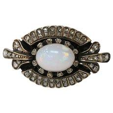Victorian Edwardian Opal Diamonds 14K Yellow Gold Silver Brooch Pin