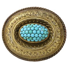 Victorian Etruscan Revival Momento More 9K Yellow Gold Turquoise Brooch Pin