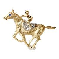 Vintage Horse Jockey Racing Diamonds Sapphire 14K Yellow White Gold Brooch Pin