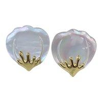 Tiffany and Co. Angela Cummings 18K YG Mother of Pearl Flower Earrings