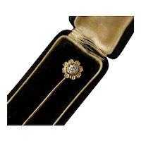 Art Deco Diamond Flowers 14K Yellow White Gold Stick Pin