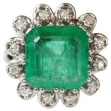 Vintage Emerald Cut Columbian Emerald Diamonds Platinum Ring