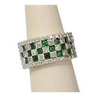 Vintage Checkerboard Tsavorite Garnet and Diamond 18K White Gold Ring