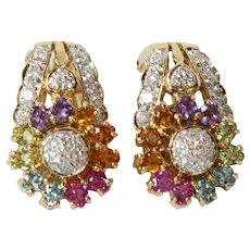 Vintage Sparkling Multi Stone 18K Yellow Gold French Clip Earrings
