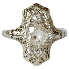 Stunning Art Deco 18K White Gold Filigree Three Diamonds Shield Ring
