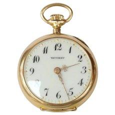 Antique Vauchey 14K Yellow Gold Fleur de Lis Rose Cut Diamonds Pocket Watch