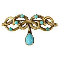 Antique Victorian  Hand Crafted 14K Yellow Gold Turquoise Brooch