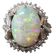 Vintage 1960's Australian Opal and Diamond 14K White Gold Statement Ring