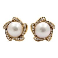 Large Mabe Pearl Diamonds Pinwheel French Clip Earrings
