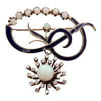 Vintage Opals Diamonds Enamel 14K Yellow Gold Brooch Pin