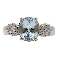Vintage Oval Aquamarine Diamonds 14K White Gold Ring