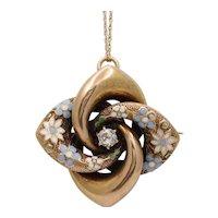 Victorian Etruscan Revival 14K YG Enamel Flowers Old Euro Diamond Brooch Pendant