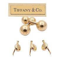 Tiffany & Co Vintage 14K Yellow Gold Barbell Cufflinks Set