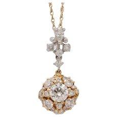 Beautiful Vintage Diamonds 14K Yellow White Gold Pendant