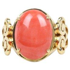 Vintage Ladies Coral 18K Yellow Gold Ring